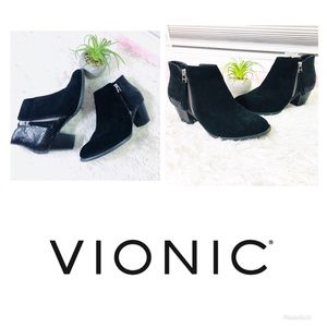 Vionic | Anne | Black Suede Ankle Boots Size 7